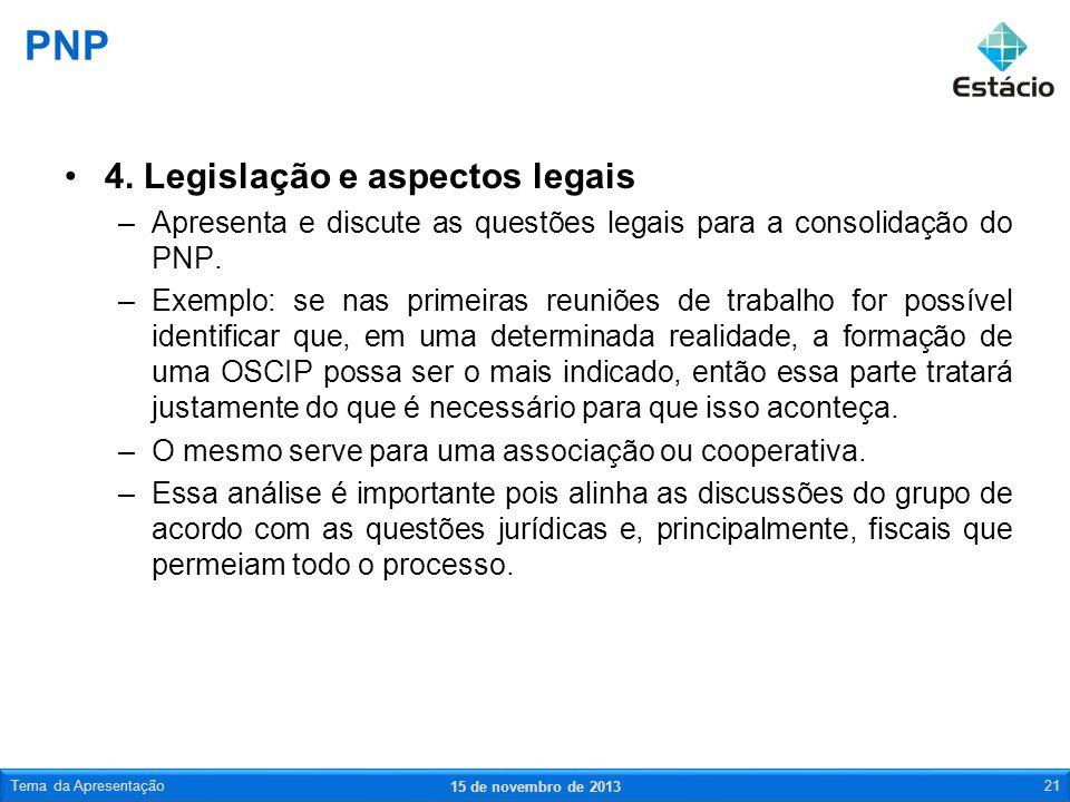 PNP 4. Legislação e aspectos legais