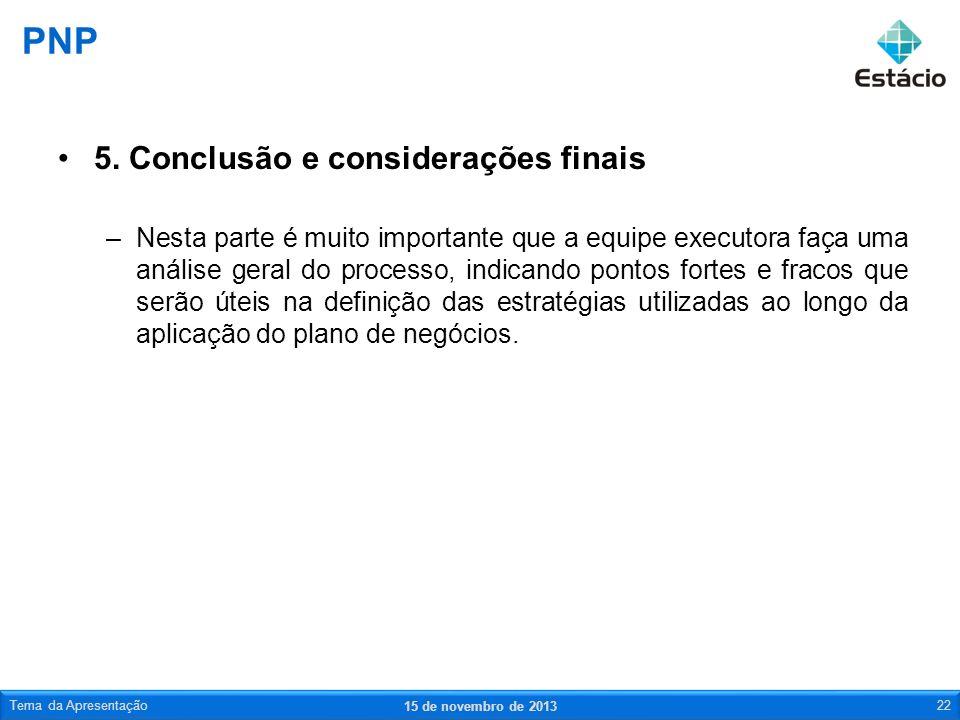 PNP 5. Conclusão e considerações finais