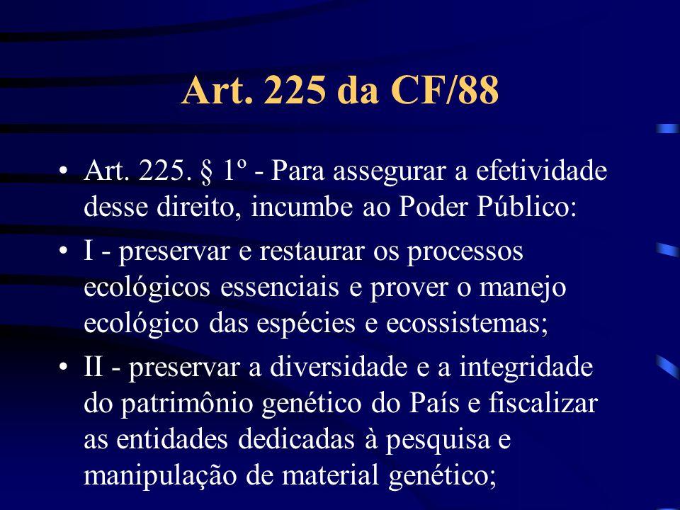 Art. 225 da CF/88 Art. 225. § 1º - Para assegurar a efetividade desse direito, incumbe ao Poder Público: