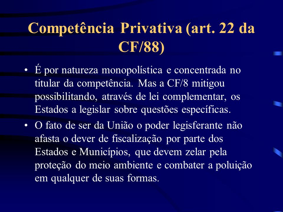 Competência Privativa (art. 22 da CF/88)