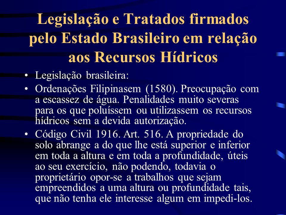 Legislação e Tratados firmados pelo Estado Brasileiro em relação aos Recursos Hídricos