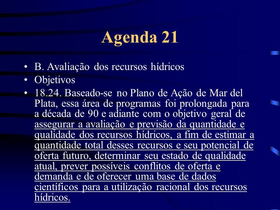 Agenda 21 B. Avaliação dos recursos hídricos Objetivos
