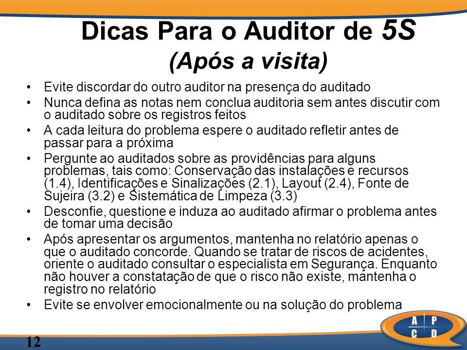 Dicas Para o Auditor de 5S (Após a visita)