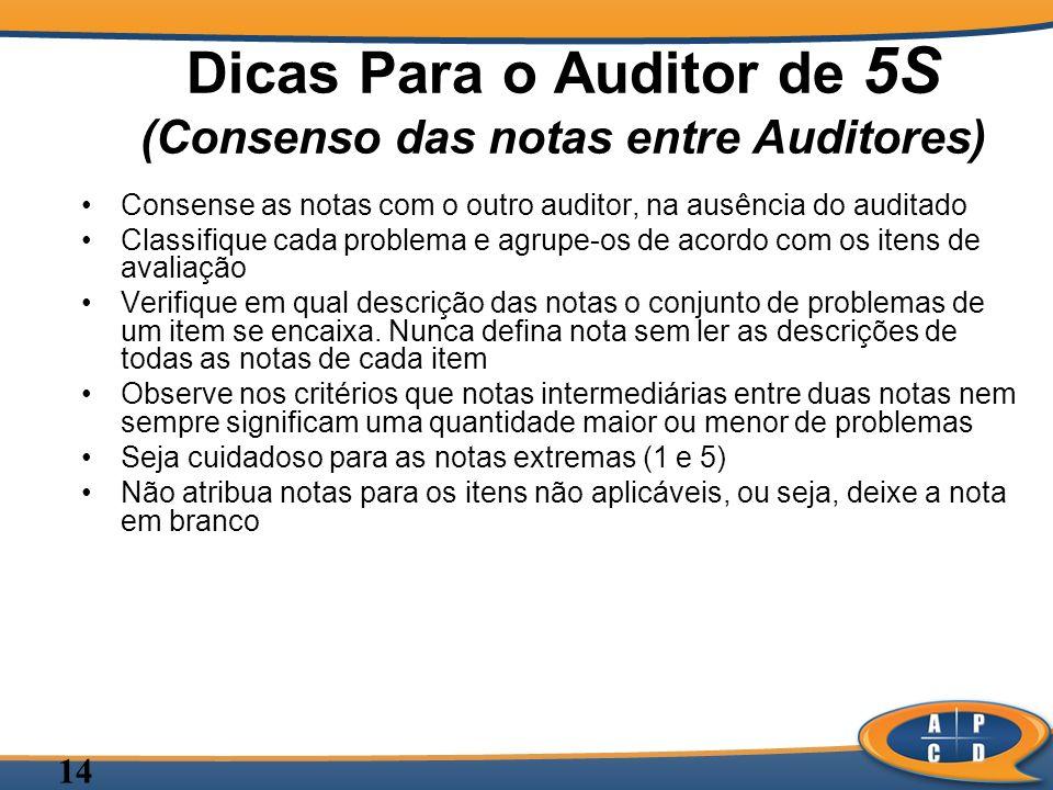 Dicas Para o Auditor de 5S (Consenso das notas entre Auditores)