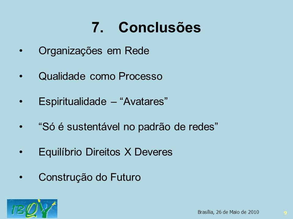 Conclusões Organizações em Rede Qualidade como Processo