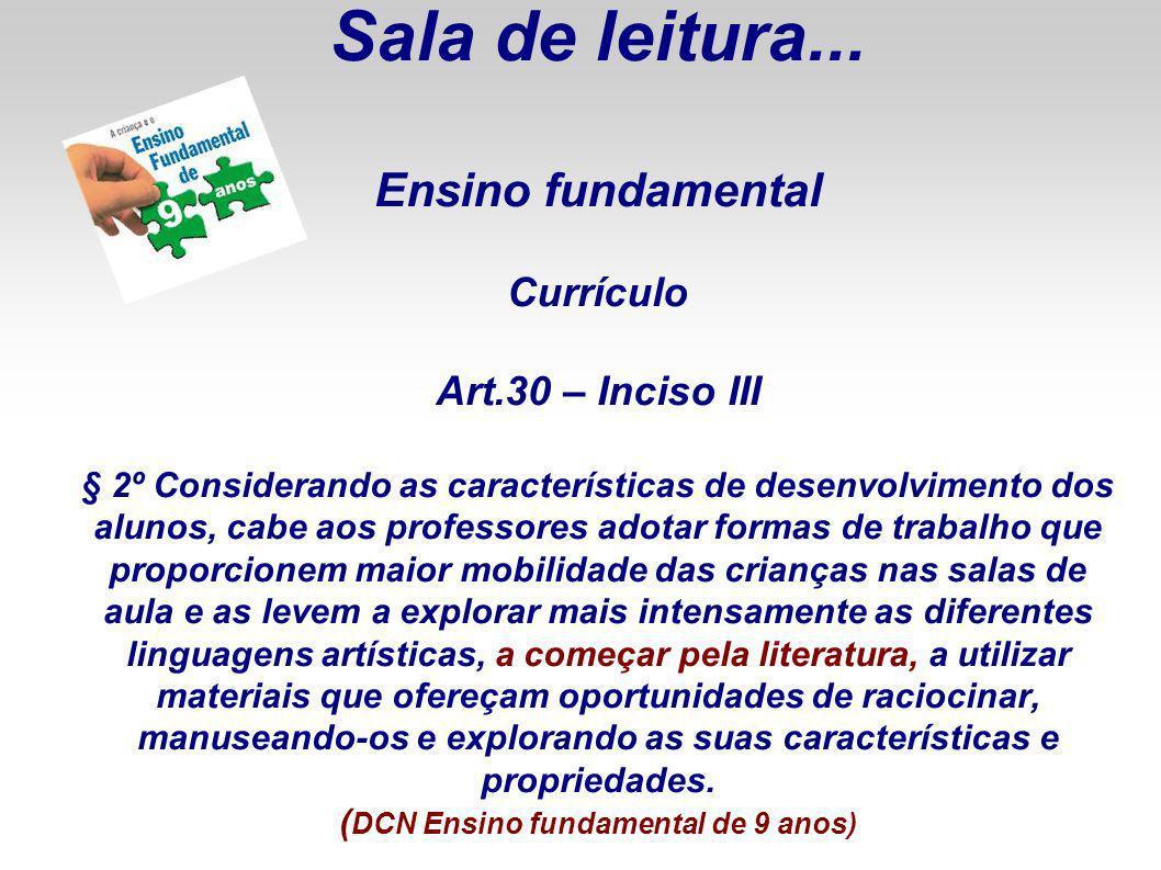 Sala de leitura. Ensino fundamental Currículo Art