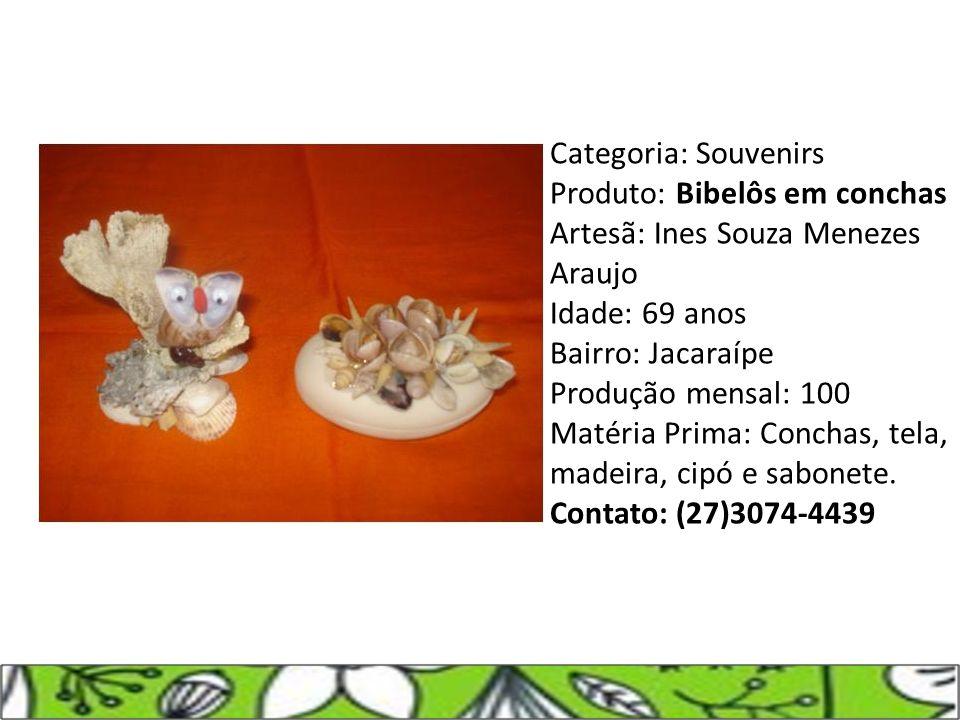 Categoria: Souvenirs Produto: Bibelôs em conchas