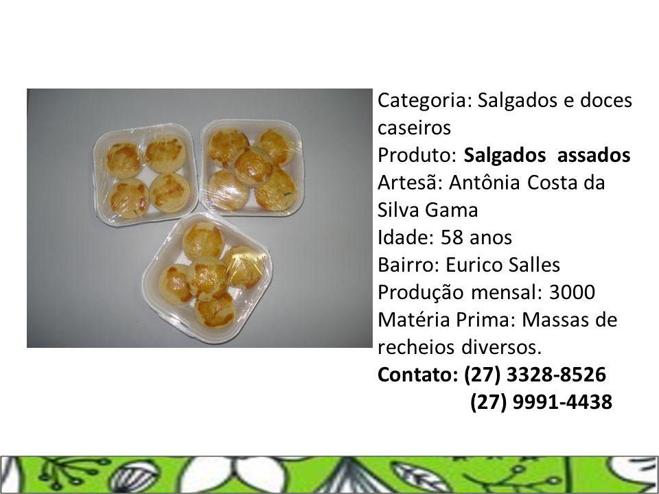 Categoria: Salgados e doces caseiros Produto: Salgados assados
