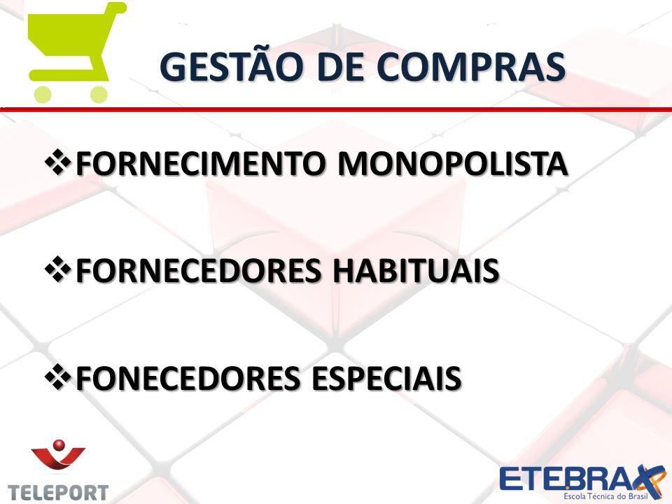 GESTÃO DE COMPRAS FORNECIMENTO MONOPOLISTA FORNECEDORES HABITUAIS FONECEDORES ESPECIAIS