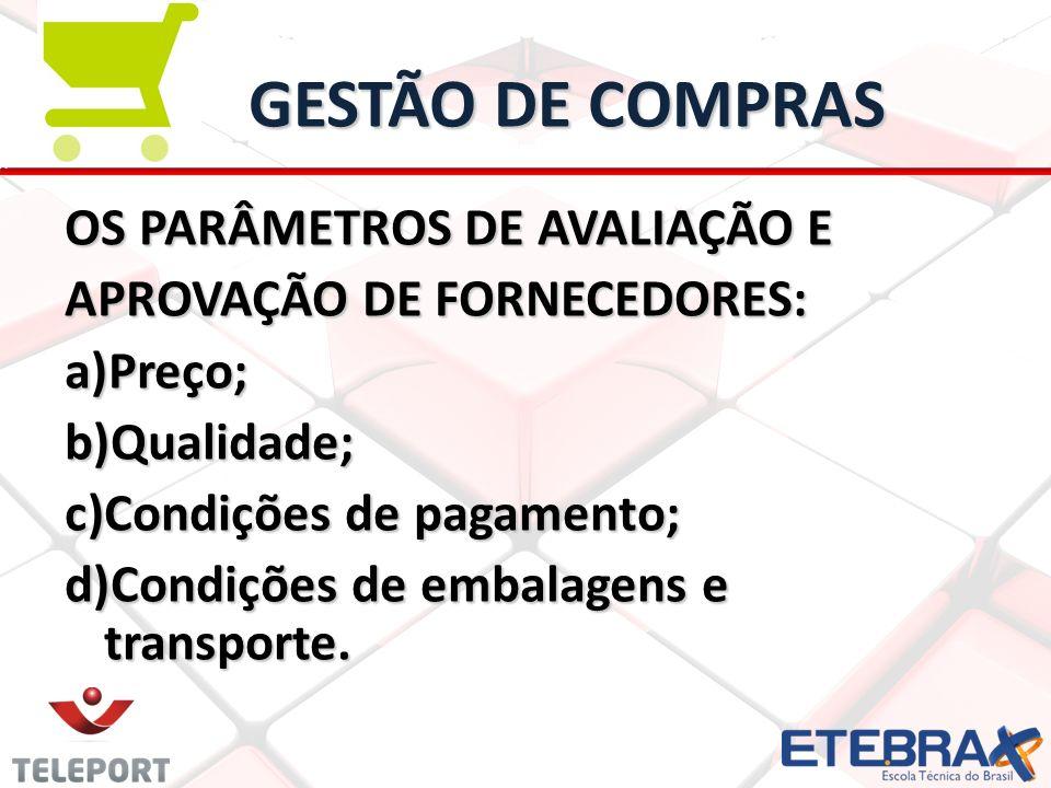 GESTÃO DE COMPRAS OS PARÂMETROS DE AVALIAÇÃO E