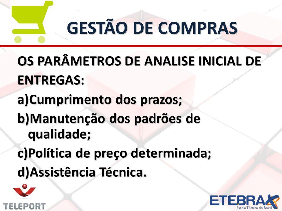 GESTÃO DE COMPRAS OS PARÂMETROS DE ANALISE INICIAL DE ENTREGAS: