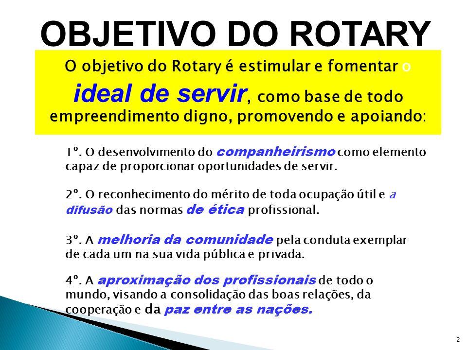 OBJETIVO DO ROTARYO objetivo do Rotary é estimular e fomentar o ideal de servir, como base de todo empreendimento digno, promovendo e apoiando: