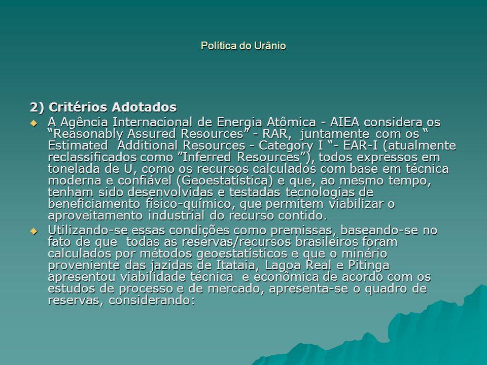 Política do Urânio 2) Critérios Adotados.