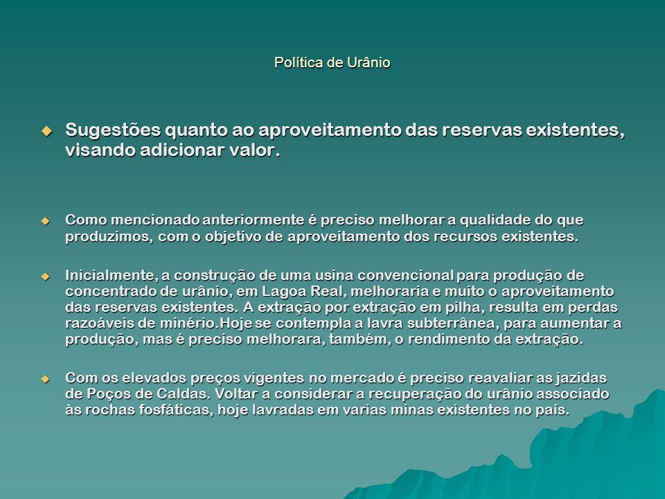 Política de Urânio Sugestões quanto ao aproveitamento das reservas existentes, visando adicionar valor.