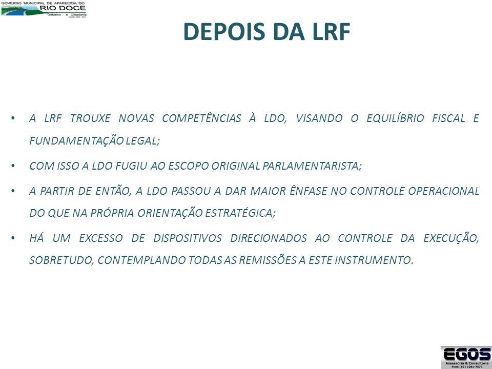 DEPOIS DA LRF A LRF TROUXE NOVAS COMPETÊNCIAS À LDO, VISANDO O EQUILÍBRIO FISCAL E FUNDAMENTAÇÃO LEGAL;