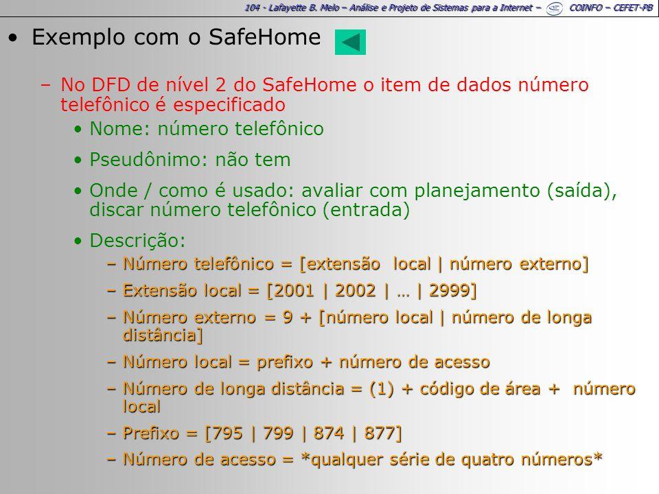 Exemplo com o SafeHome No DFD de nível 2 do SafeHome o item de dados número telefônico é especificado.