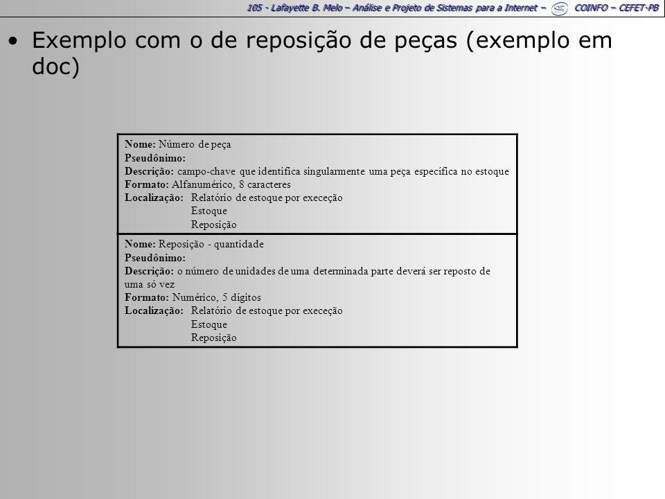 Exemplo com o de reposição de peças (exemplo em doc)