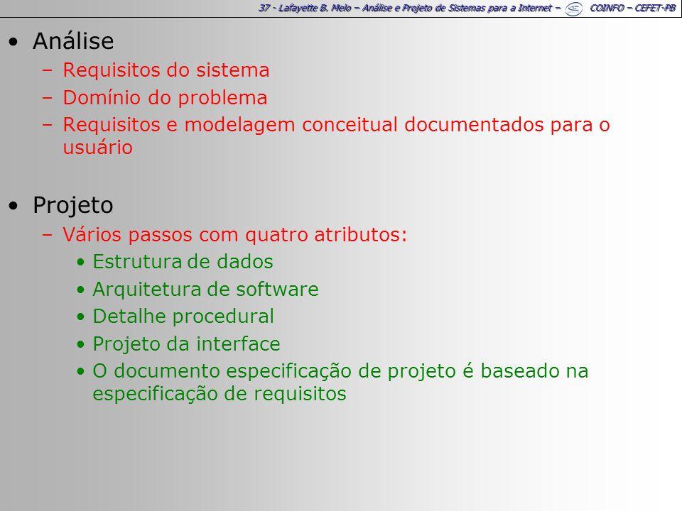 Análise Projeto Requisitos do sistema Domínio do problema