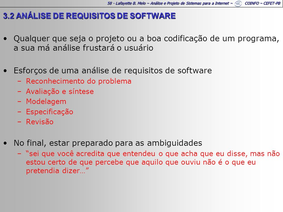 3.2 ANÁLISE DE REQUISITOS DE SOFTWARE