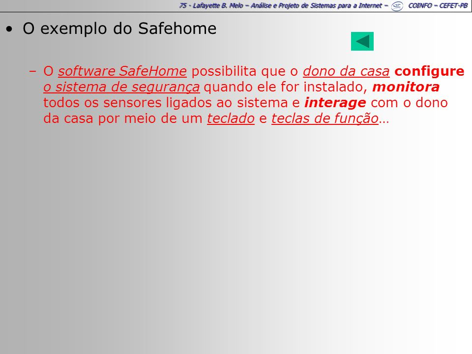 O exemplo do Safehome