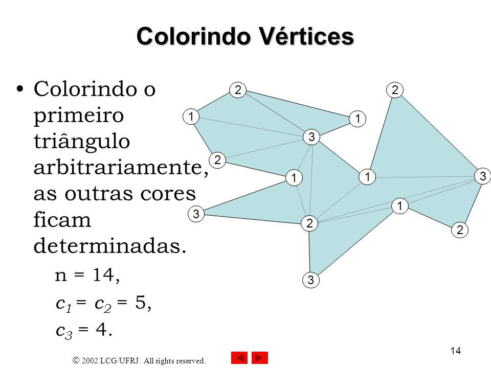 23/03/2017 Colorindo Vértices. Colorindo o primeiro triângulo arbitrariamente, as outras cores ficam determinadas.
