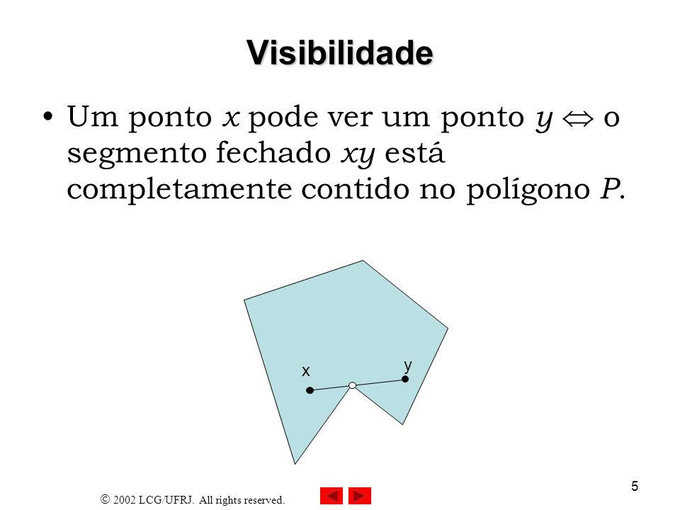 23/03/2017 Visibilidade. Um ponto x pode ver um ponto y  o segmento fechado xy está completamente contido no polígono P.