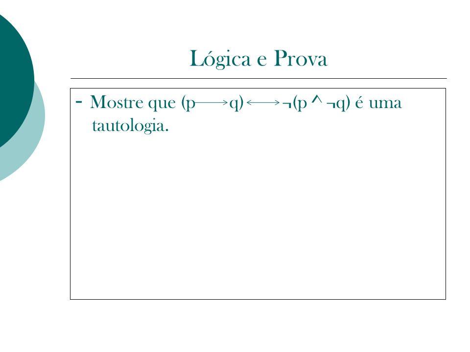 Lógica e Prova - Mostre que (p q) ¬(p ^ ¬q) é uma tautologia. �