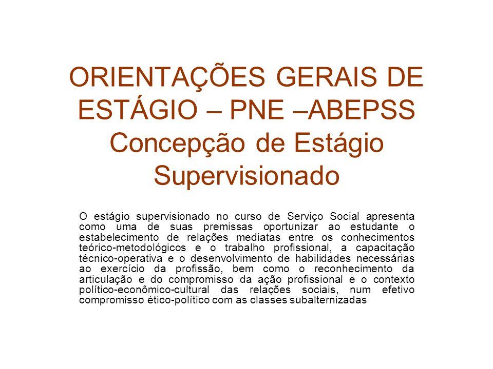 ORIENTAÇÕES GERAIS DE ESTÁGIO – PNE –ABEPSS Concepção de Estágio Supervisionado