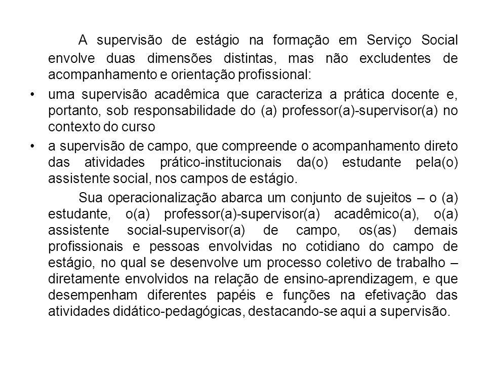 A supervisão de estágio na formação em Serviço Social envolve duas dimensões distintas, mas não excludentes de acompanhamento e orientação profissional:
