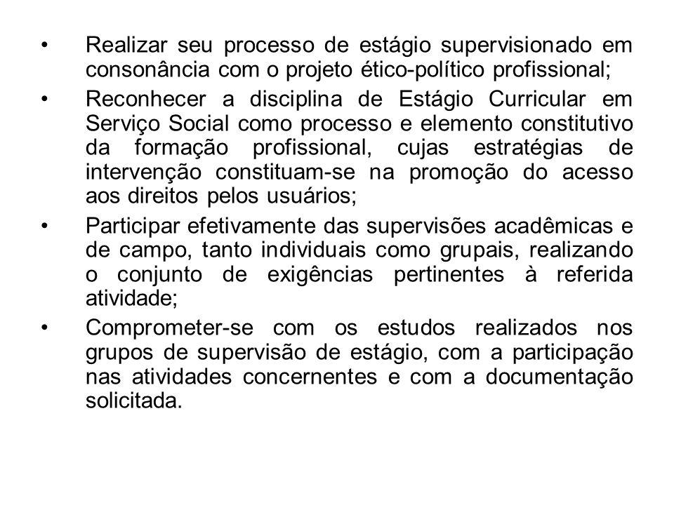 Realizar seu processo de estágio supervisionado em consonância com o projeto ético-político profissional;