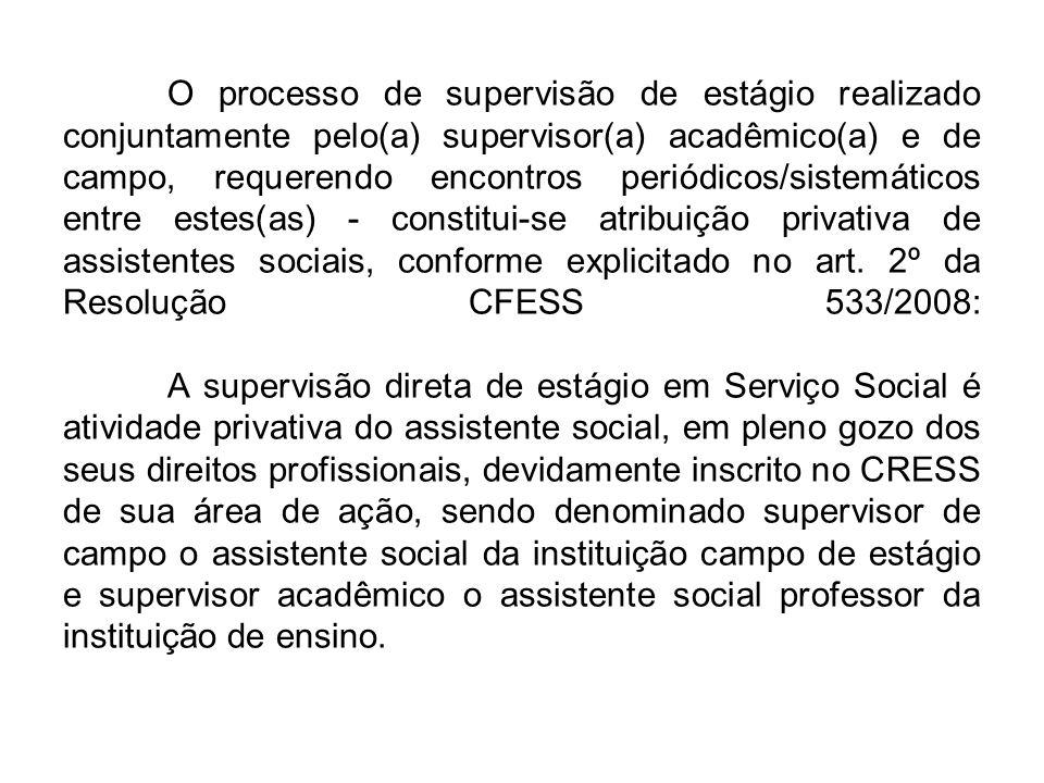 O processo de supervisão de estágio realizado conjuntamente pelo(a) supervisor(a) acadêmico(a) e de campo, requerendo encontros periódicos/sistemáticos entre estes(as) - constitui-se atribuição privativa de assistentes sociais, conforme explicitado no art.