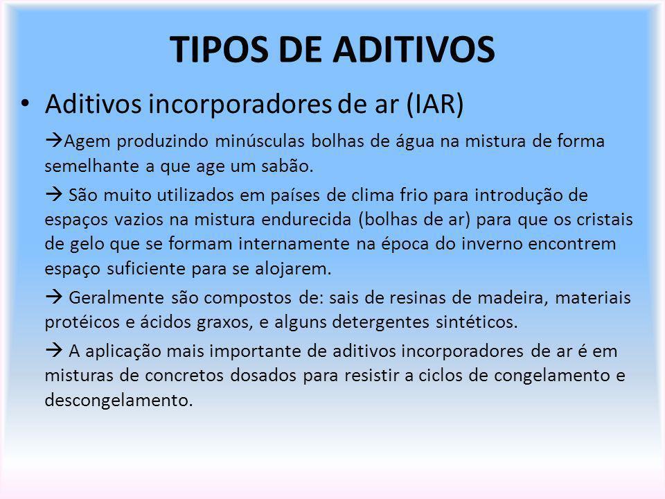 TIPOS DE ADITIVOS Aditivos incorporadores de ar (IAR)