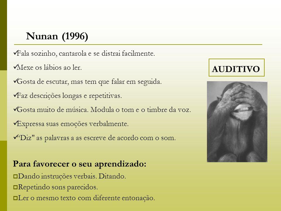 Nunan (1996) AUDITIVO Para favorecer o seu aprendizado: