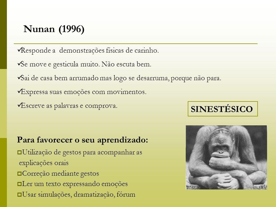 Nunan (1996) Para favorecer o seu aprendizado: SINESTÉSICO
