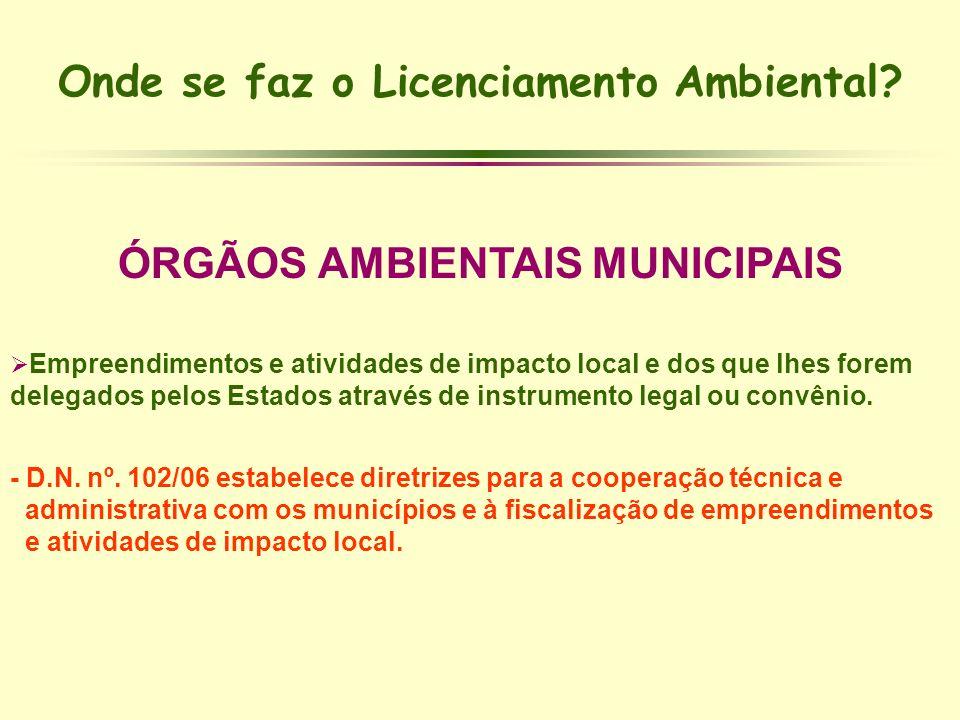 Onde se faz o Licenciamento Ambiental ÓRGÃOS AMBIENTAIS MUNICIPAIS