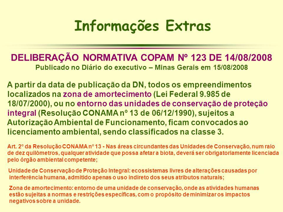 Informações Extras DELIBERAÇÃO NORMATIVA COPAM Nº 123 DE 14/08/2008