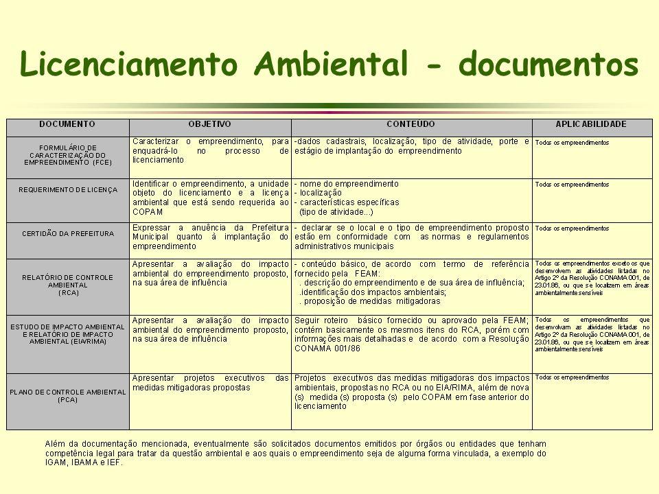 Licenciamento Ambiental - documentos
