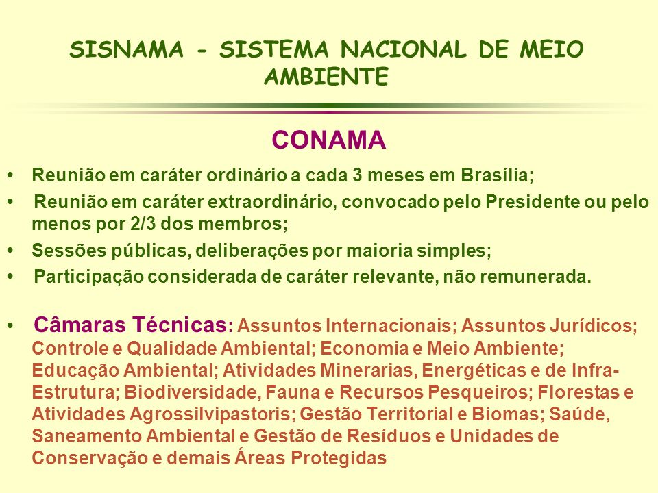 SISNAMA - SISTEMA NACIONAL DE MEIO AMBIENTE