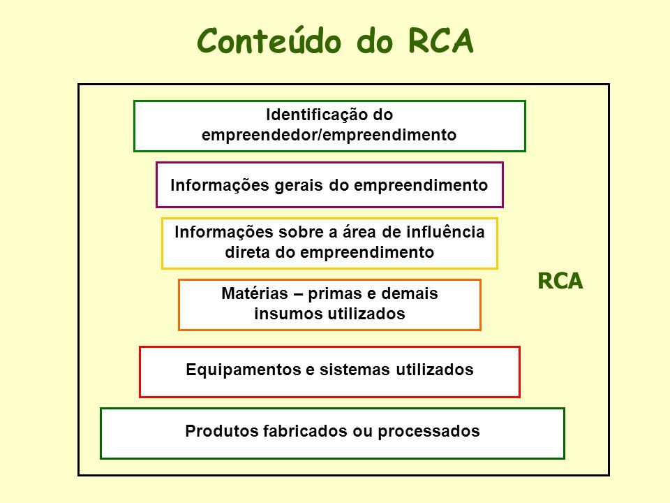 Conteúdo do RCA RCA Identificação do empreendedor/empreendimento