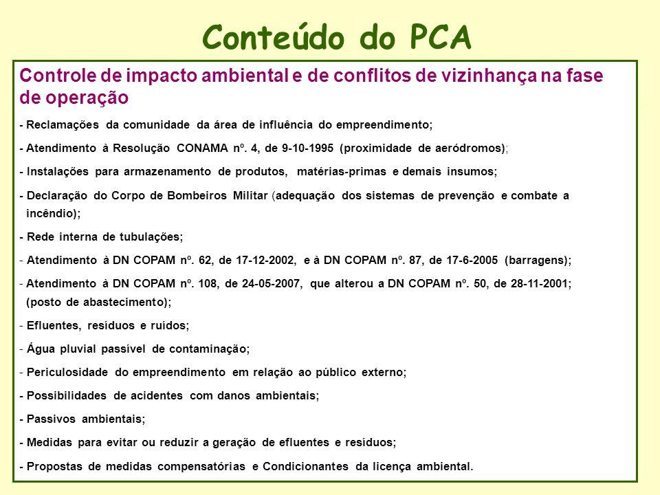 Conteúdo do PCA Controle de impacto ambiental e de conflitos de vizinhança na fase de operação.