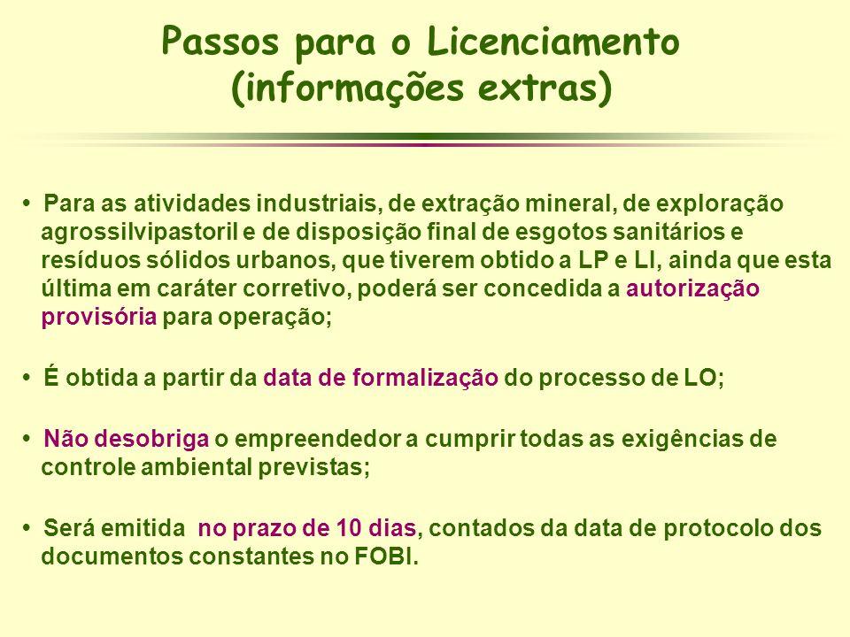 Passos para o Licenciamento (informações extras)