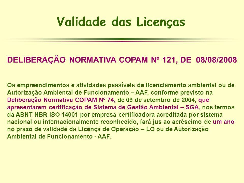 DELIBERAÇÃO NORMATIVA COPAM Nº 121, DE 08/08/2008