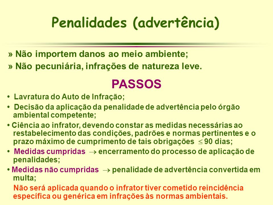 Penalidades (advertência)
