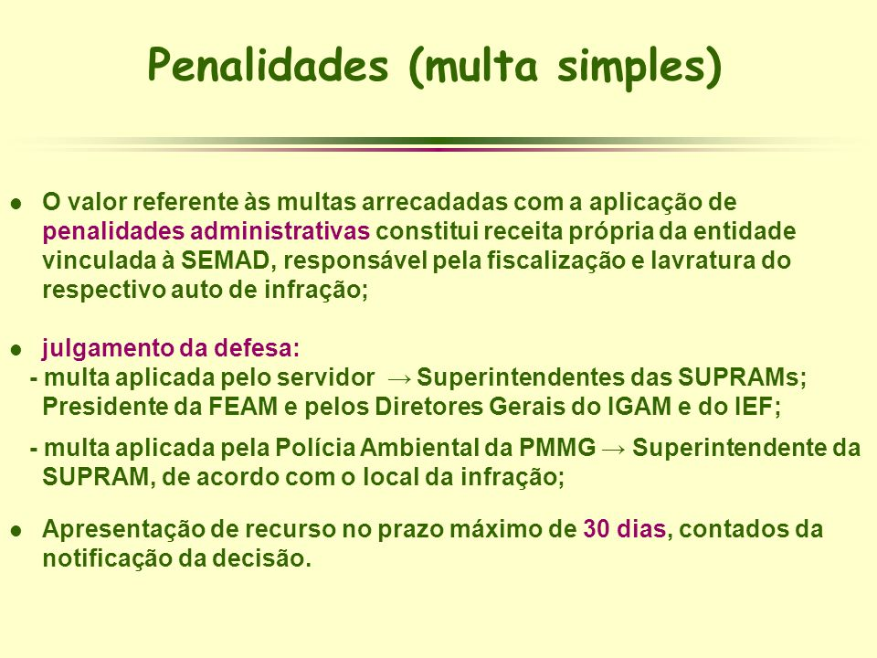 Penalidades (multa simples)