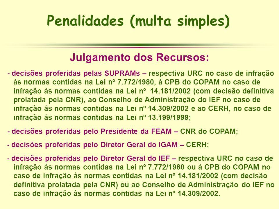 Penalidades (multa simples) Julgamento dos Recursos: