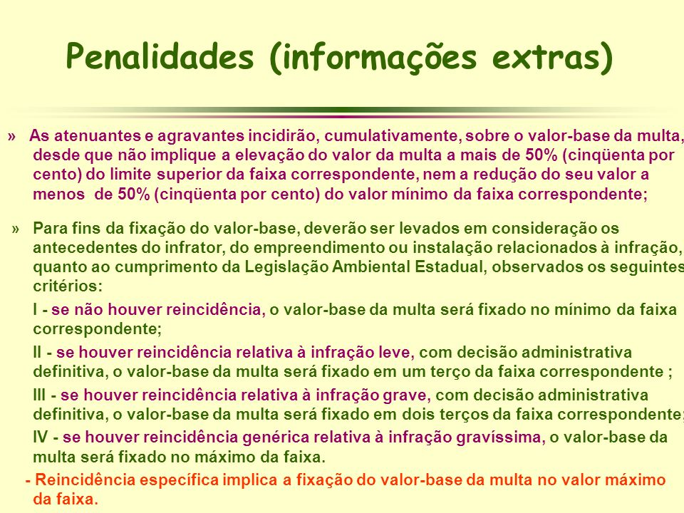 Penalidades (informações extras)