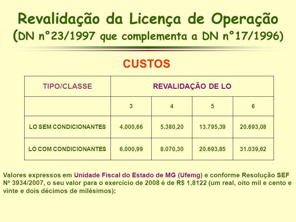 Revalidação da Licença de Operação (DN n°23/1997 que complementa a DN n°17/1996)