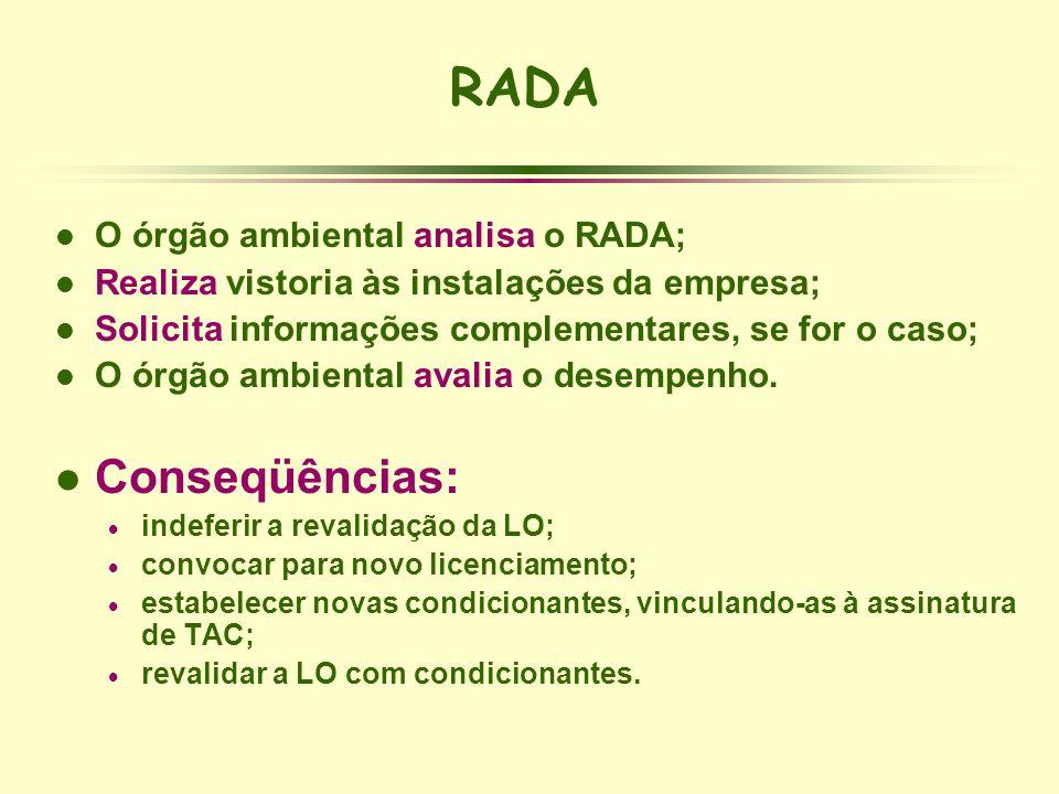 RADA Conseqüências: O órgão ambiental analisa o RADA;