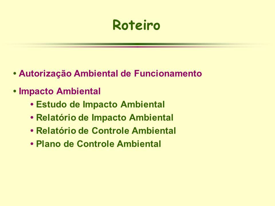 Roteiro • Autorização Ambiental de Funcionamento • Impacto Ambiental