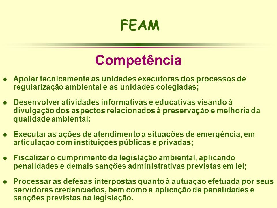 FEAM Competência. Apoiar tecnicamente as unidades executoras dos processos de regularização ambiental e as unidades colegiadas;